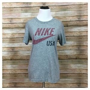 Nike USA Logo Slim Fit Tee - Gray - Medium
